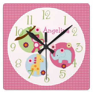名前入りな棒つきキャンデーのジャングル動物の子供部屋の時計 スクエア壁時計
