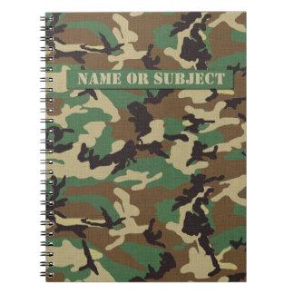 名前入りな森林軍のカムフラージュのノート ノートブック
