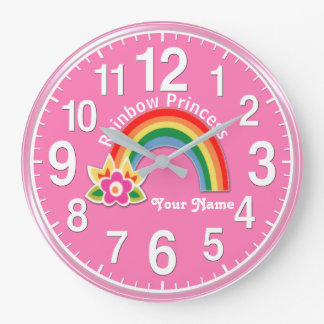 名前入りな楽しい虹のプリンセスの時計 ラージ壁時計