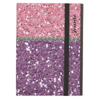 名前入りな模造のなグリッターの宝石のピンクの紫色の女の子 iPad AIRケース