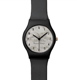 名前入りな模造のな大理石のアラバスターのモダン 腕時計