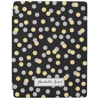 名前入りな模造のな金ゴールドおよび銀製の紙吹雪 iPad カバー