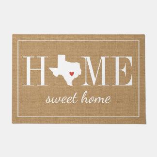名前入りな歓迎された家のテキサス州のジュートの玄関マット ドアマット