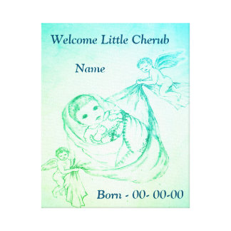 名前入りな歓迎された小さい天使 キャンバスプリント