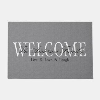 名前入りな歓迎された灰色の玄関マット ドアマット