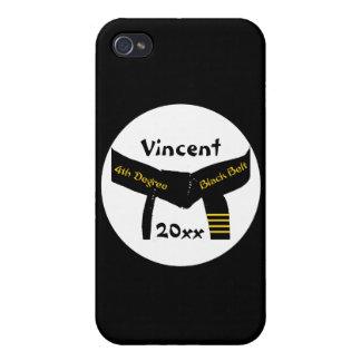 名前入りな武道の第4程度の黒帯 iPhone 4 ケース