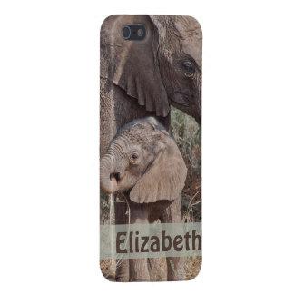 名前入りな母およびベビーのアフリカゾウ iPhone 5 ケース