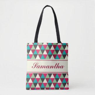 名前入りな民族の種族の三角形パターン トートバッグ