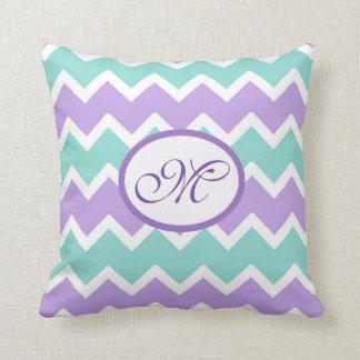 名前入りな水の青い薄紫の紫色のシェブロンの枕 クッション