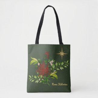 名前入りな水彩画のクリスマスのデイジー トートバッグ