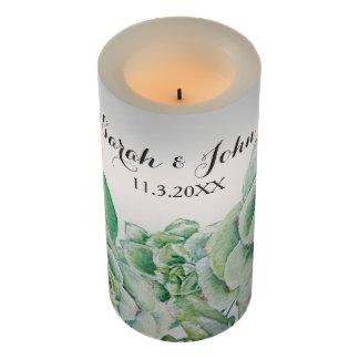 名前入りな水彩画の水気が多い結婚の蝋燭 LEDキャンドル
