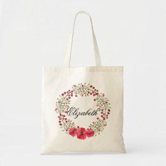 名前入りな水彩画の花のリースの新婦付添人 トートバッグ
