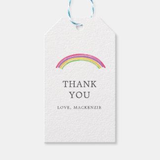 名前入りな水彩画の虹はギフトのラベル感謝していしています ギフトタグ