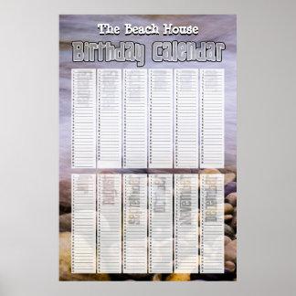 名前入りな永遠のビーチの誕生日のカレンダー ポスター