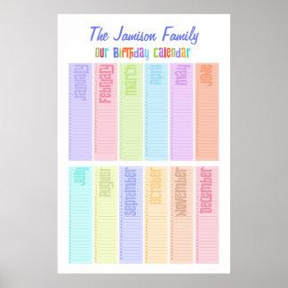 名前入りな永遠の誕生日のカレンダー ポスター
