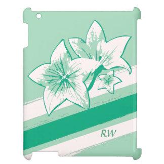名前入りな波の緑およびクリーム色の近代美術Lilly iPadケース