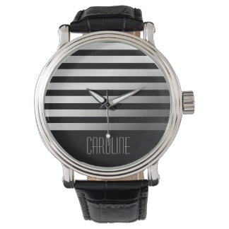 名前入りな流行の灰色のストライブ柄の黒 腕時計