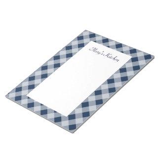 名前入りな海軍ギンガムのメモ帳 ノートパッド