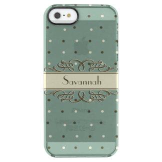 名前入りな涼しいレトロの水玉模様 クリア iPhone SE/5/5sケース