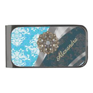 名前入りな淡いブルーのかわいらしくガーリーなダマスク織パターン ガンメタル マネークリップ