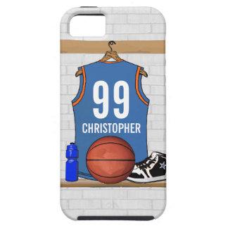 名前入りな淡いブルーのオレンジバスケットボールジャージー iPhone SE/5/5s ケース