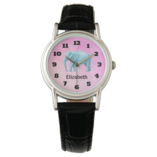名前入りな淡いブルーの水彩画象 腕時計