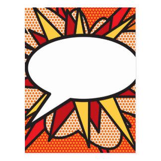 名前入りな漫画本のポップアートのスピーチの泡 ポストカード