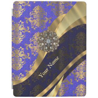 名前入りな濃紺のダマスク織パターン iPadスマートカバー