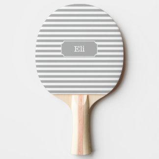 名前入りな灰色のストライプの卓球ラケット 卓球ラケット