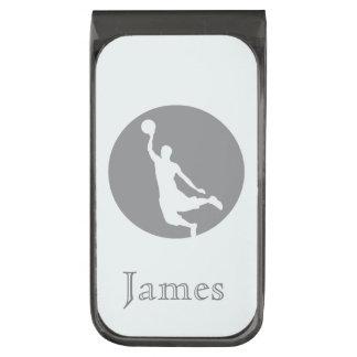 名前入りな灰色のバスケットボールの円のロゴ ガンメタル マネークリップ