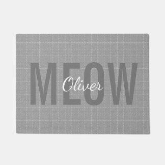 名前入りな灰色の猫の鳴き声猫ペットマット ドアマット