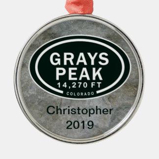 名前入りな灰色ピークCO山のオーナメント メタルオーナメント