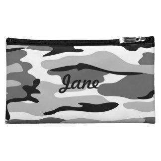 名前入りな灰色及び黒いカムフラージュの化粧品のバッグ コスメティックバッグ