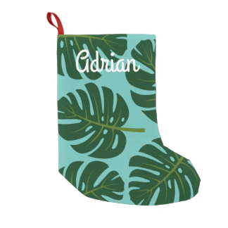 名前入りな熱帯シュロの葉の休日の装飾 スモールクリスマスストッキング