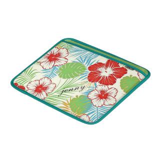 名前入りな熱帯ハイビスカスのハワイアンの花柄 MacBook スリーブ