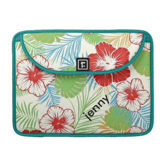 名前入りな熱帯ハイビスカスのハワイアンの花柄 MacBook PROスリーブ