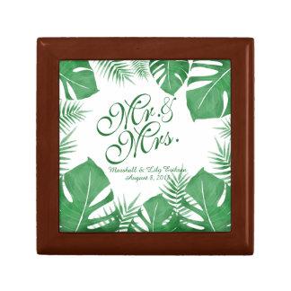 名前入りな熱帯緑の結婚祝い箱 ギフトボックス