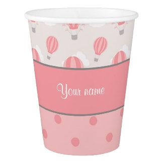 名前入りな熱気の気球および水玉模様 紙コップ