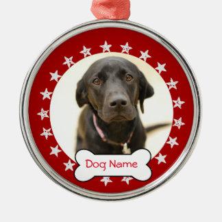 名前入りな犬の写真のオーナメント-星 メタルオーナメント
