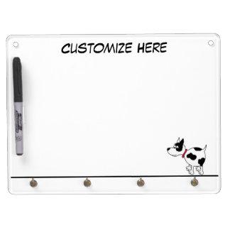 名前入りな犬のKeychainのホールダー及びホワイトボード キーホルダーフック付きホワイトボード