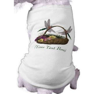 名前入りな犬のTシャツのトンボの花のバスケット ペット服