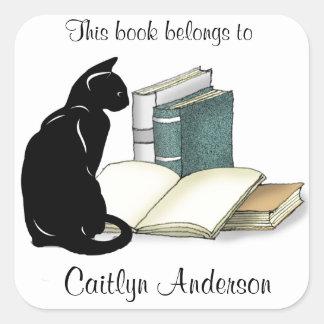 名前入りな猫および本の蔵書票のステッカー スクエアシール