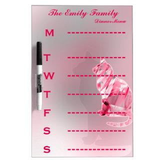 名前入りな猫の明るいピンクの夕食メニュー ホワイトボード