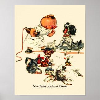 名前入りな獣医へのヴィンテージの獣医の訪問 ポスター