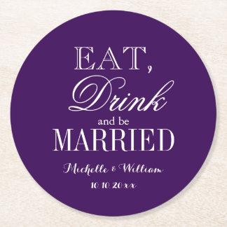 名前入りな王室のな紫色の円形の結婚式のコースター ラウンドペーパーコースター