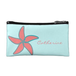 名前入りな珊瑚およびターコイズの熱帯ヒトデ コスメティックバッグ