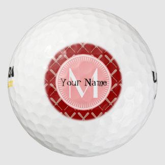 名前入りな珊瑚および赤い野球用バットパターン ゴルフボール