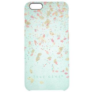 名前入りな珊瑚のピンクの真新しい緑の金葉 クリア iPhone 6 PLUSケース
