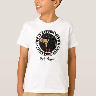 名前入りな生命はロットワイラーとよりよいです Tシャツ