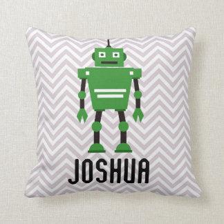 名前入りな男の子の緑のロボット枕 クッション